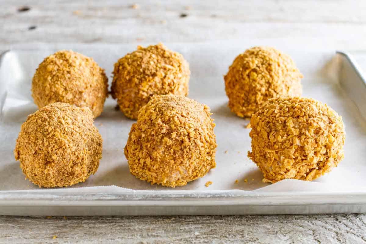 balls of cornflake coated ice cream