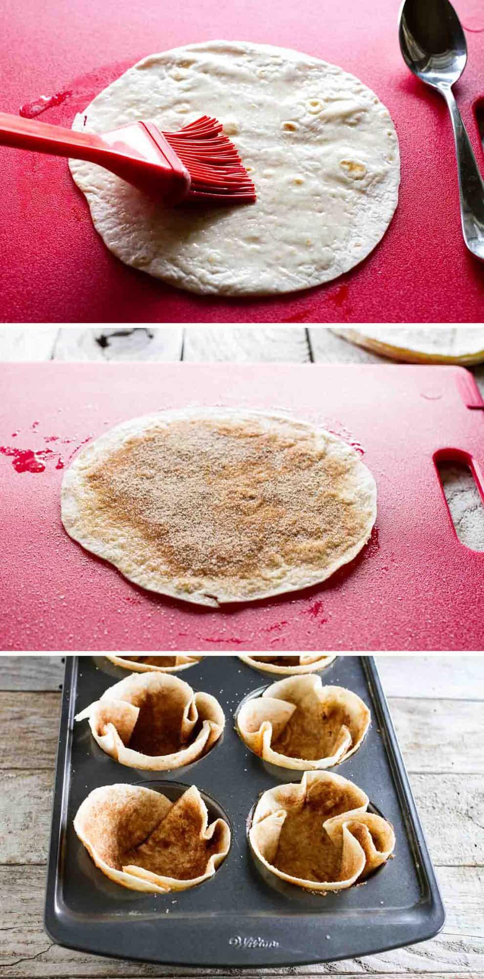 steps to make cinnamon sugar tortilla bowls