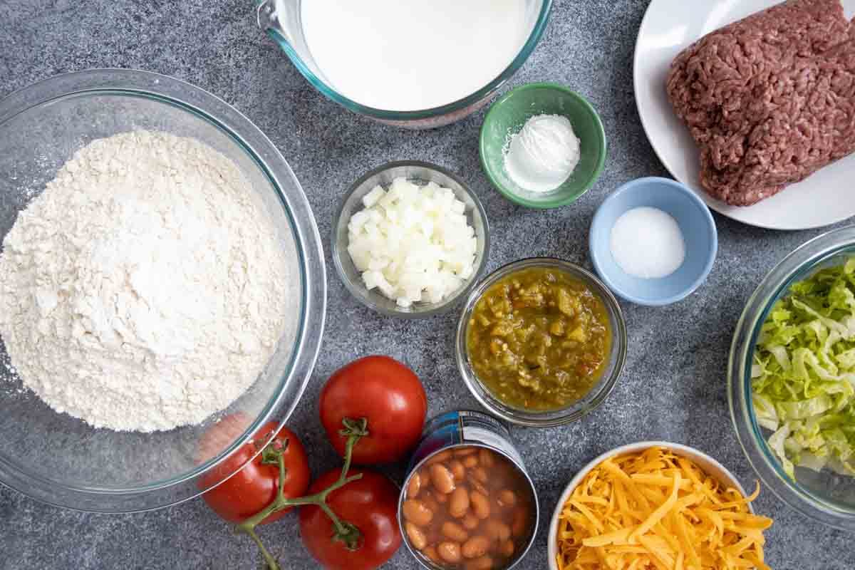 overhead view of ingredients needed to make navajo tacos