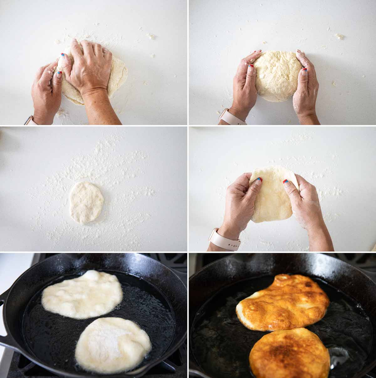 kneading and flattening dough to make fry bread