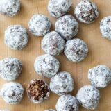 overhead view of No Bake Peanut Butter Oatmeal Balls showing texture of one