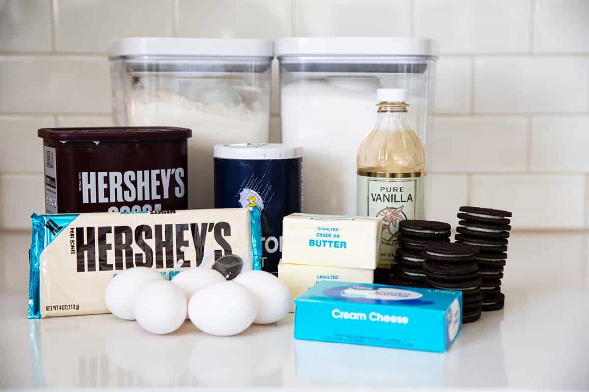 Ingredients needed for Oreo Brownies