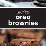 Oreo Brownies with text in the middle