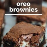 Oreo Brownies with text overlay