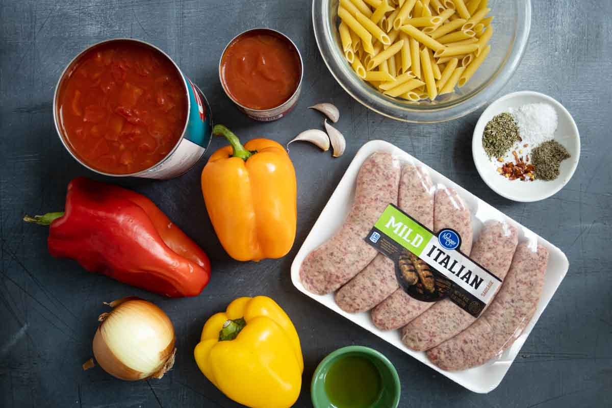 ingredients needed for sausage and peppers pasta