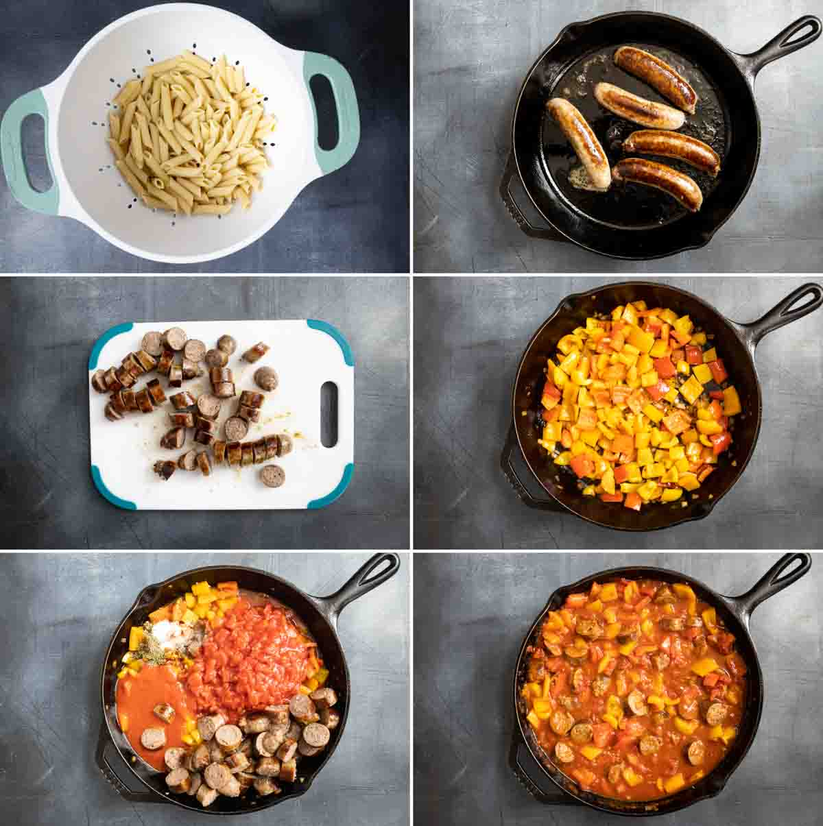 steps to make sausage and peppers pasta