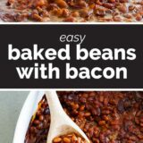 baked beans with text in the middle