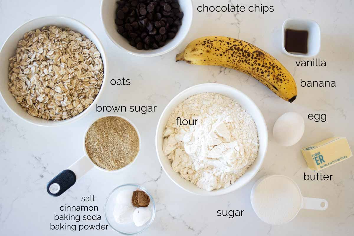 ingredients needed for banana oatmeal chocolate chip cookies
