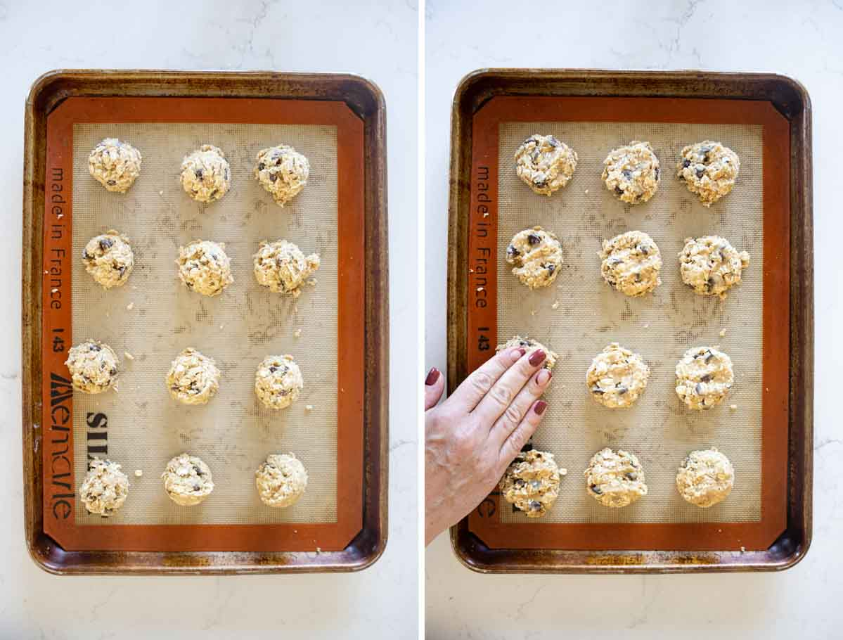 shaping dough for banana oatmeal cookies