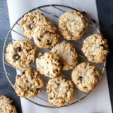 overhead view of banana oatmeal cookies on a cooling rack