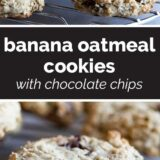 Banana Oatmeal Cookies with text in the center