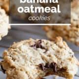 Banana Oatmeal Cookies with text overlay