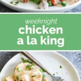 chicken a la king with text in the middle