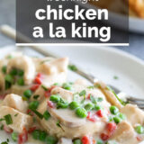 chicken a la king with text overlay