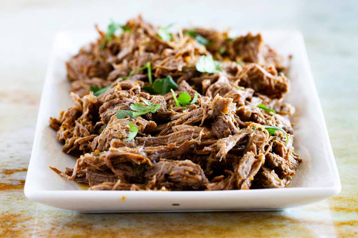 Chipotle Shredded Beef on a white serving plate