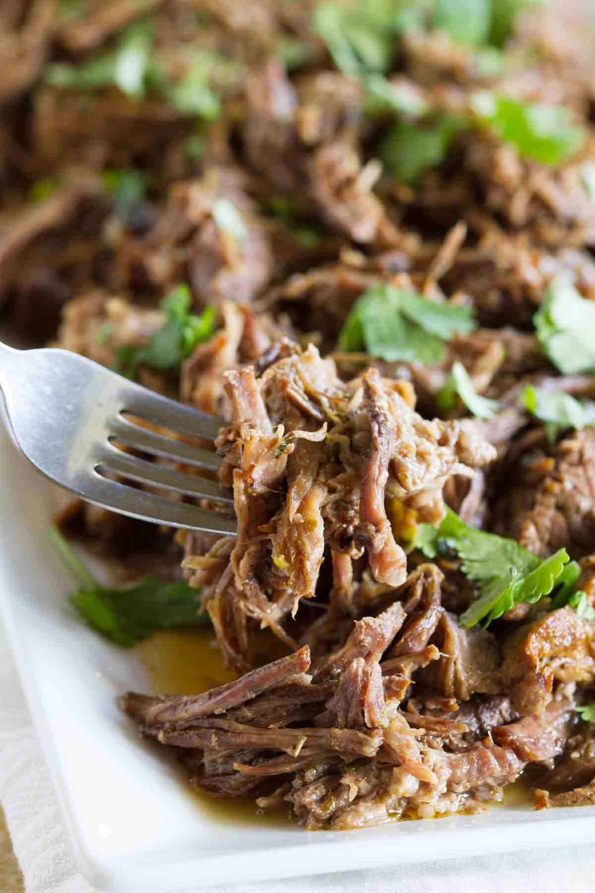fork full of shredded beef to show texture