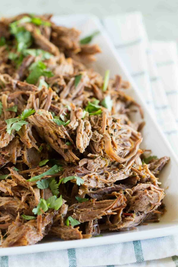 plate full of chipotle shredded beef sprinkled with cilantro