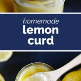 Homemade lemon curd with text in the middle