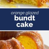 Orange Glazed Bundt Cake with text in the middle