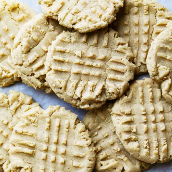 overhead view of peanut butter cookies stacked