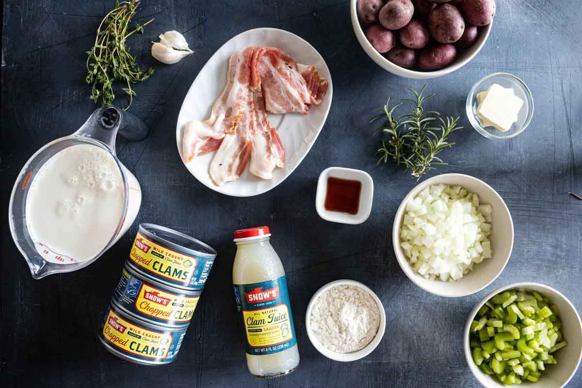 ingredients needed to make clam chowder