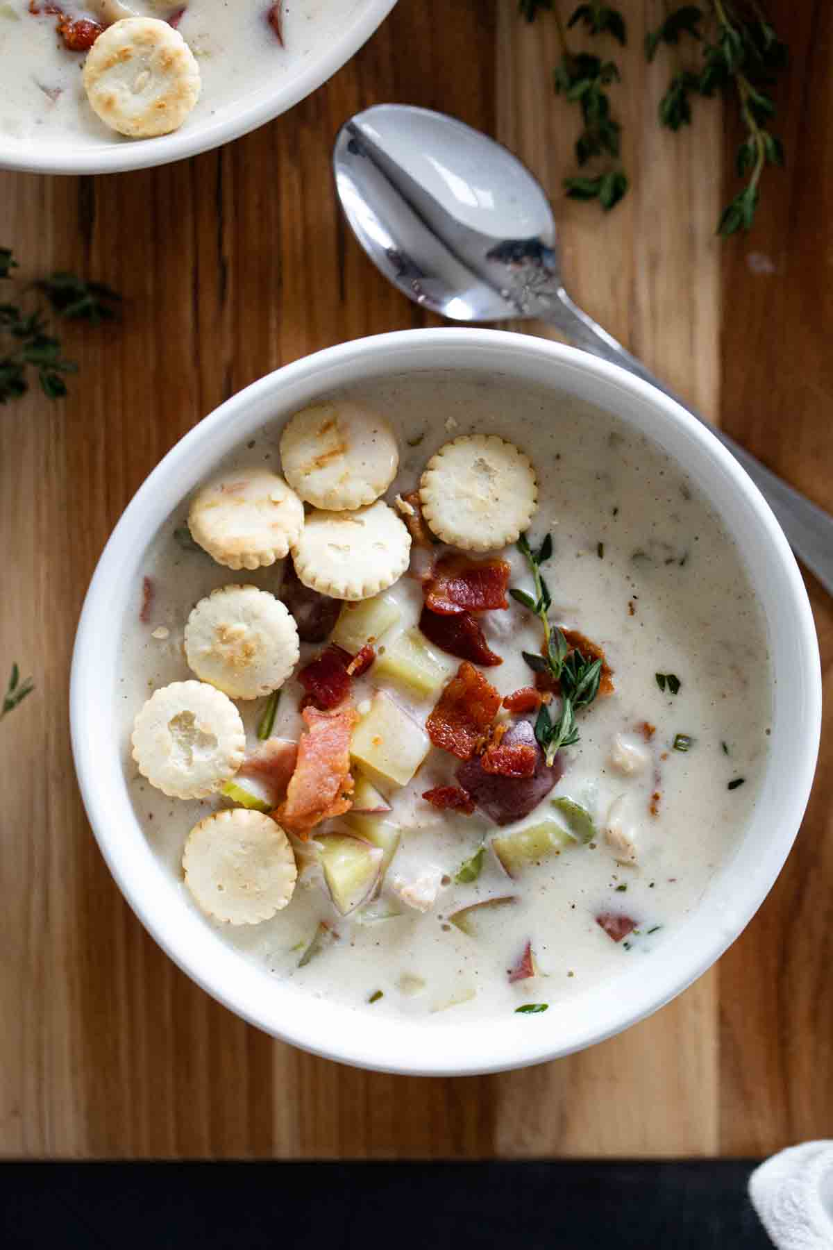 overhead view of bowl of clam chowder