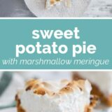Sweet Potato Pie with text bar in the middle
